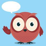 Brown owl said cartoon - stock illustration