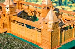 The layout of an ancient fortress, made of wood. - stock photo