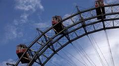 Stock Video Footage of ULTRA HD 4K Timelapse Prater giant ferris wheel rotate Vienna landmark red cabin