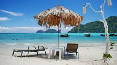 Beautiful tropical beach in the Phi Phi island, Krabi, Thailand. Stock Footage