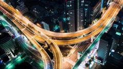 Highway intersection time-lapse at night - stock footage