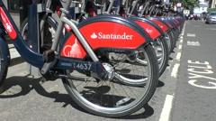 Santander Cycles, London's self-service, bike-sharing scheme London, UK. Stock Footage