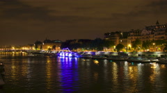 River Seine at night, Paris Stock Footage
