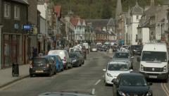 Scottish Borders town of Peebles - panning up at the top of High St Stock Footage