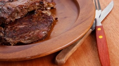 Meat beef bbq on wood Stock Footage