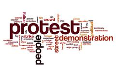 Protest word cloud concept - stock illustration