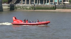 A London Rib Voyages tourist boat on the River Thames, London, UK. Stock Footage