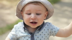 Baby with first teeth Stock Footage