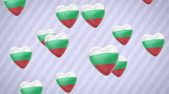 Flying flagged hearts. Bulgaria. Looping. Alpha channel is included. Stock Footage