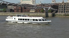 The Sapele tourist leisure boat on the River Thames, London, UK. Stock Footage