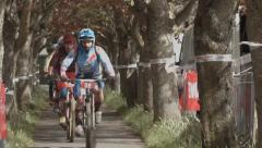 Mountain bikers cycling through treelined avenue, Scotland Stock Footage