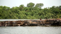 Kids swiming in river Africa Stock Footage