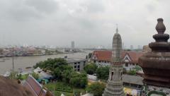 Twilight view from Wat Arun across Chao Phraya River in Bangkok, Thailand - stock footage