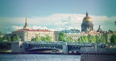 Skyline in St. Petersburg Neva Beach - St. Isaac's Cathedral and other histor Stock Photos