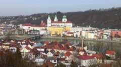 Passau from the south, Bavaria, Germany Stock Footage