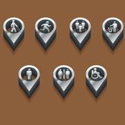 Stock Illustration of black and white icons people. isometric