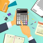 Stock Illustration of Calculator Business Man Hand Office Desk Accountant