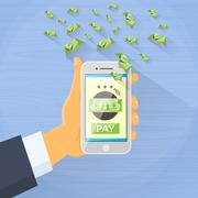 Smart Phone Mobile Payment Checkout Businessman Hand Pay Concept - stock illustration