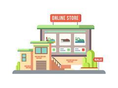 Online Shop Building Flat Design - stock illustration