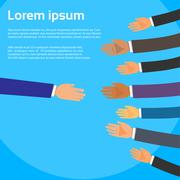 Handshake One Person Choose Partners Business People Group Hands Shake Stock Illustration