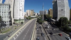 Aerial view of 9 de Julho Avenue in Sao Paulo, Brazil Stock Footage