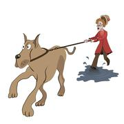 Illustration of old lady trying to walk with big dog on the puddle Stock Illustration