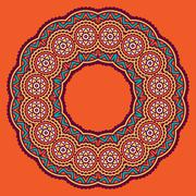 colored circular ornament in Oriental style - stock illustration