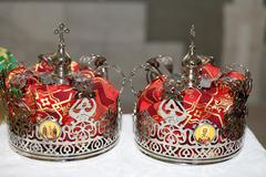 two crowns for wedding - stock photo