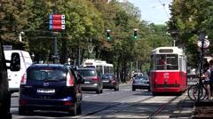 ULTRA HD 4K Timelapse busy traffic street Vienna multiple lane car pass tram day Stock Footage