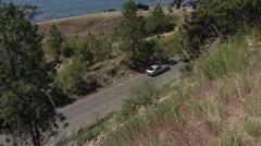 Motorsports, hillclimb race, up close action follow shothillclimb Datsun 240z V8 Stock Footage