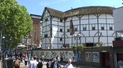 The Shakespeare Globe Theatre on the banks of the River Thames, London, UK. Stock Footage