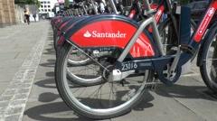 Santander Cycles, London's self-service, bike-sharing scheme London, UK. - stock footage