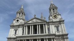 The front facade of St Pauls Cathedral in London, UK. - stock footage