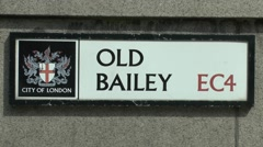 The Old Bailey street/road sign, London, UK. Stock Footage