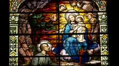 Church stained glass Stock Footage