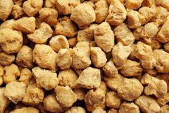 Soya protein chunks background - stock photo
