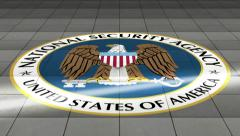 NSA Logo in Floor Dolly Move Stock Footage