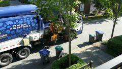 New City Garbage Truck Picks Up Organic Waste Stock Footage