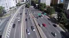 Traffic in 9 de Julho Avenue in Sao Paulo, Brazil Stock Footage