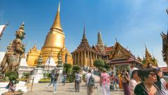 Time Lapse Wat Phra Kaew Famous Temple Of the Emerald Buddha Bangkok, Thailand Stock Footage