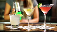 Variety of cocktails at the bar. Stock Footage