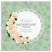 Marriage invitation card with place for text and pink flowers over green shabby Stock Illustration