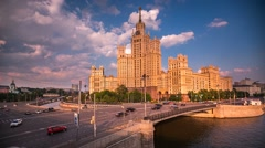 Stock Video Footage of Kotelnicheskaya Embankment Building, Timelapse Video, Moscow, Russia