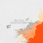 Abstract hand drawn spotted gray-orange background with empty place for text - stock illustration