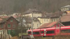 SWITZERLAND - train in the city of Saint Imier - Jura mountain Stock Footage