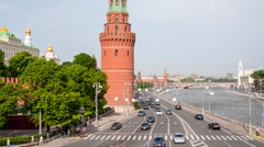 Car traffic in Moscow city center Stock Footage