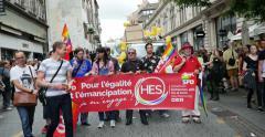 SPD members at gay pride Stock Footage