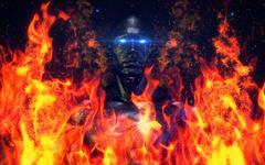 Hi-Tech Android (Robotic Male Model) V3 More Burning Concept - stock illustration
