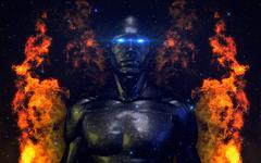 Hi-Tech Android (Robotic Male Model) V2 Burning Concept - stock illustration