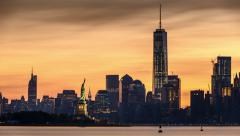 Timelapse with Lower Manhattan, Freedom Tower and The Statue of Liberty - stock footage
